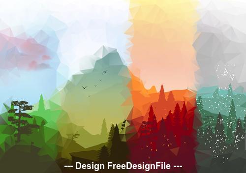 Abstract season mountain vector