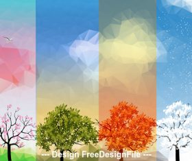 Abstract sky and four season banner vector