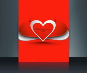 Abstract valentine heart shaped brochure cover vector