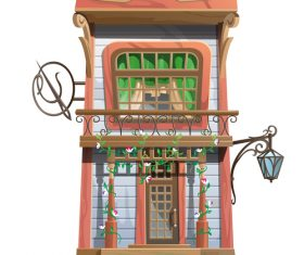 Advanced wooden building vector