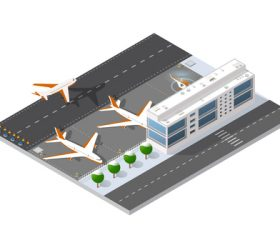 Airport terminal cartoon vector