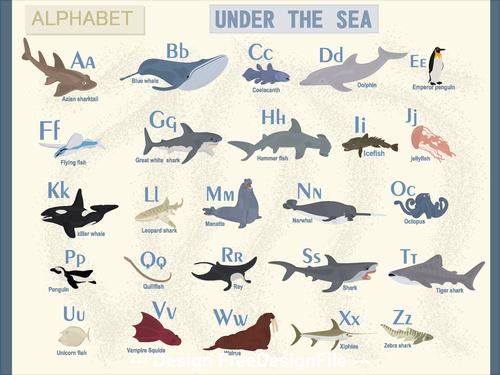 Alphabet under the sea vector