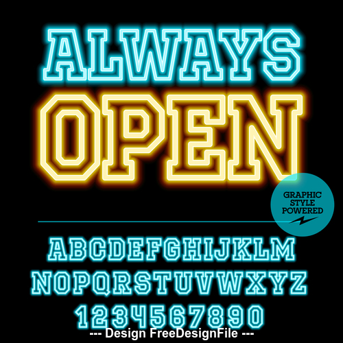 Always open color alphabet vector
