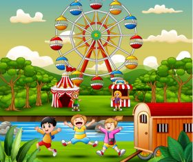 Amusement park happy children vector