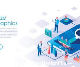 Analyze flat isometric vector concept illustration