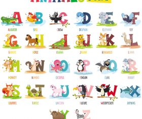Animal alphabet card vector