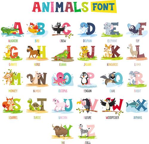 Animal alphabet card vector
