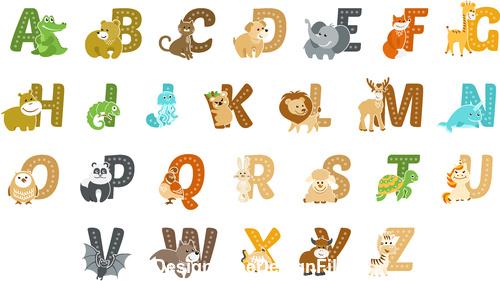 Animal and alphabet vector