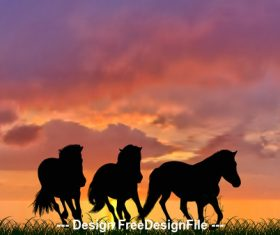 Animals horse silhouette vector