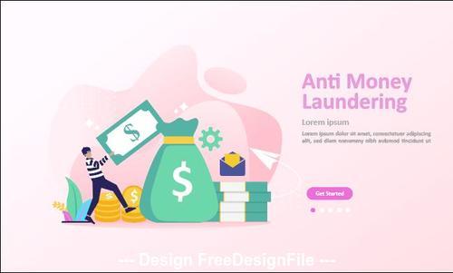 Anti money laundering cartoon illustration vector