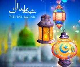 Arabic festival lantern vector