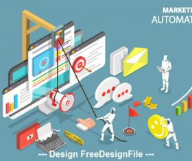 Automation marketing concept illustration vector