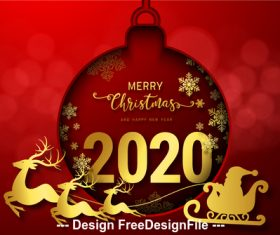 Ball decoration pendant 2020 christmas card vector