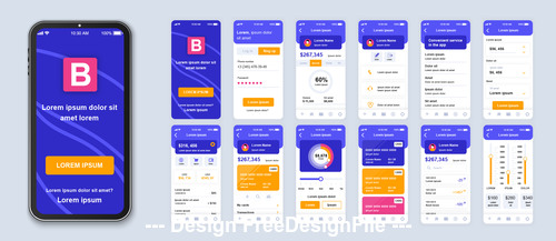 Banking mobile app Ui kit screen vector