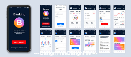 Banking mobile stock app ui kit screen vector