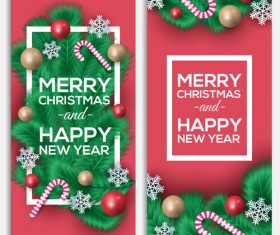 Banner new year christmas card vector
