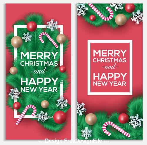 Banner new year christmas card vector