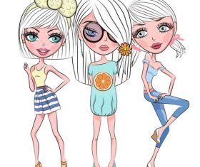 Beautiful fashion three girls vector