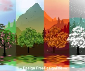 Beautiful four plant and season banner vector