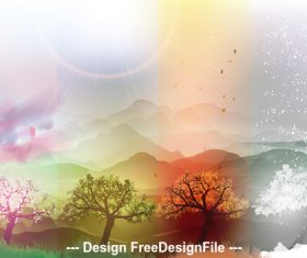 Beautiful natural scenery view vector