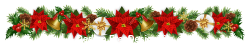Bell and holly decoration christmas card vector