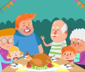 Big family cartoon illustration vector