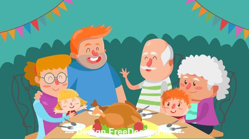 Big family cartoon illustration vector
