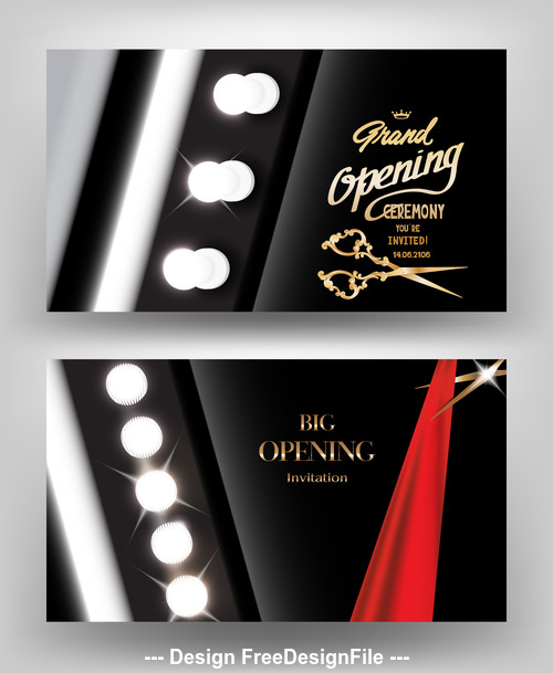 Big opening invitation card with light bulbs and red ribbon Vector illustration