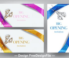Big opening invitation cards with scissors and sparkling ribbons vector