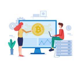 Bitcoin cartoon illustration vector