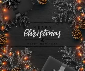 Black background and lantern decoration new year card vector