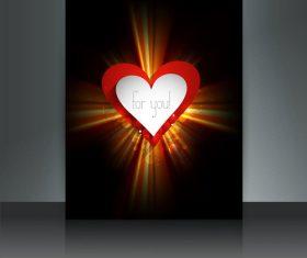 Black background glitter valentine heart shaped cover vector