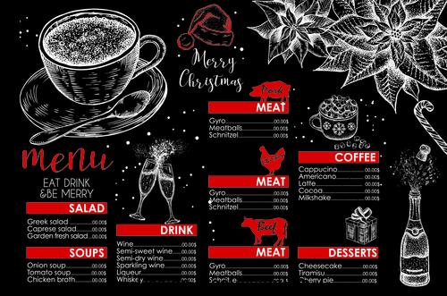 Black background restaurant christmas menu vector