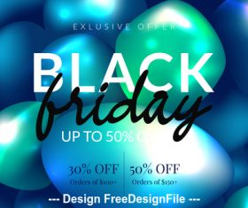 Black friday blue balloons with special offer poster vector