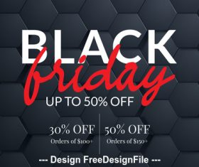Black friday sale poster with black background vector