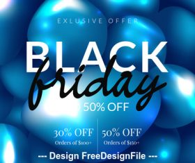 Black friday sale special design and blue balloons background vector