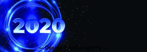 Blue 2020 digital happy new year vector