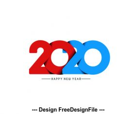 Blue and red number 2020 background vector