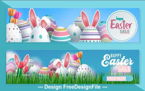 Blue background easter sale banner vector