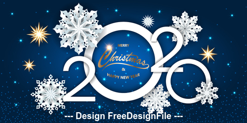 Blue background snowflake decoration 2020 new year greeting card vector