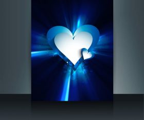 Blue heart shaped brochure cover vector