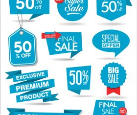 Blue promotional label vector