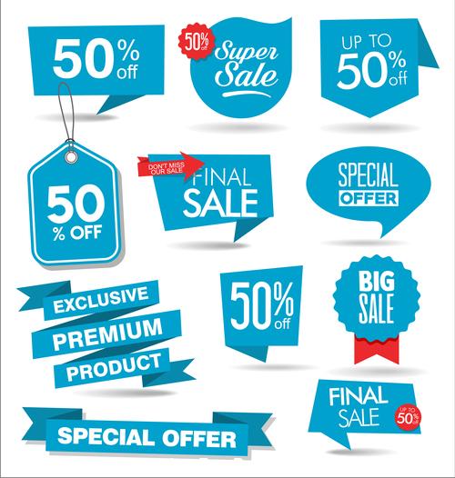 Blue promotional label vector