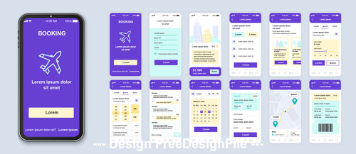 Booking mobile app Ui Kit Screen vector