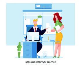 Boss and secretary in office cartoon illustration vector