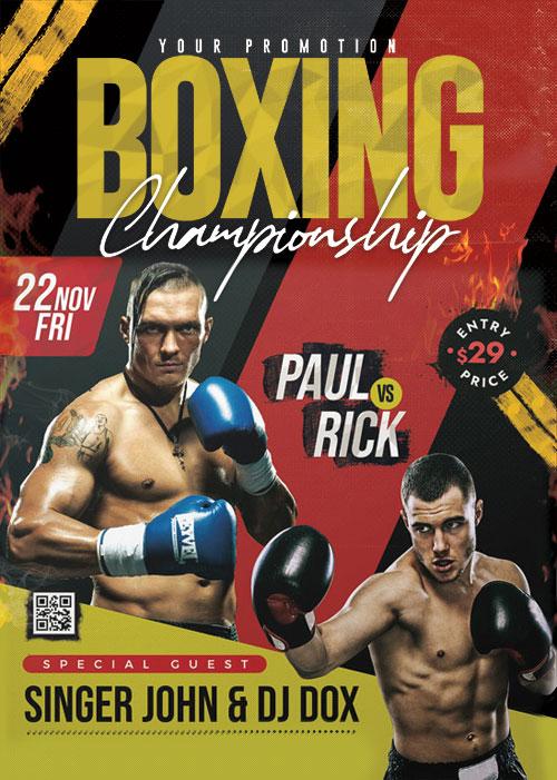 BoxingTournament Poster PSD Template