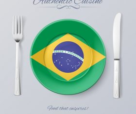Brazil authentic cuisine and flag circ icon vector