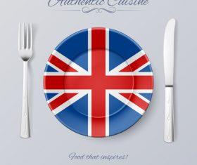 Britain authentic cuisine and flag circ icon vector