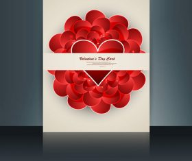 Brochure valentines day heart-shaped cover vector