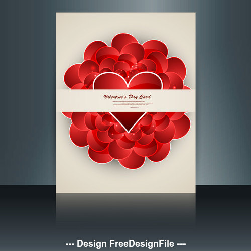 Brochure valentines day heart shaped cover vector